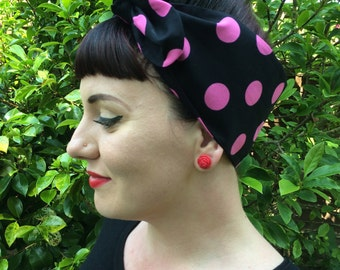 Black Pink Dotty Rockabilly Headscarf Hair Tie Headband