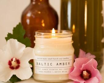 Baltic Amber Soy Candle - Natural Phthalate Free Amber Mason Jar Candle