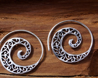 "Boho Earrings ""Classic Spiral"" Silver"