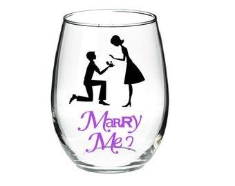 Will You Marry Me?- Wine Glass- Stemless Wine Glass-Proposal Idea- Engagment Idea- Unique Proposal- Unique Engagement Idea