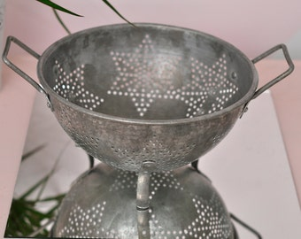 Vintage Aluminum Star Colander - Pie Safe Look!