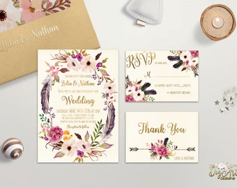 Floral Wedding Invitation Printable Boho Wedding Invitation Suite Bohemian Wedding Invite Floral Wreath Wedding invite Set Digital Invites