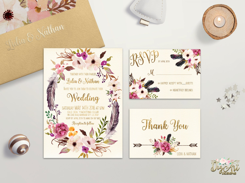 Wedding Invites Pinterest: Floral Wedding Invitation Printable Boho Wedding Invitation