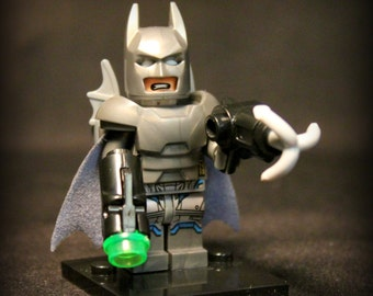Battle Armor Batman Custom DC Minifigure Superhero from Batman vs. Superman. Lego Compatible.
