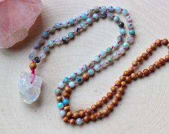 108 mala beads / walnut wood and andean blue opal mala / mala necklace / yoga jewelry / yoga beads / meditation beads