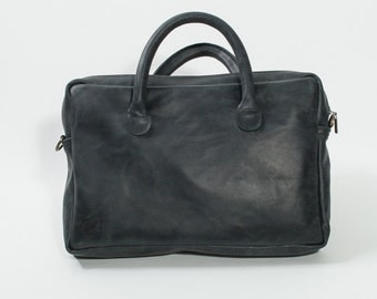 Black Leather Messenger Bag - Laptop Leather Bag - Italian Leather Handbags - Leather Unisex Messenger Bag - Black Leather Laptop Bag
