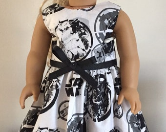 "Dress for 18"" Dolls like American Girl Dolls - made with Licensed Star Wars Fabric"