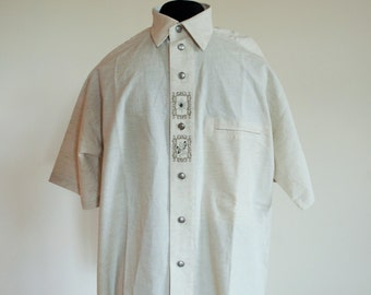 Vintage Mens Linen Shirt / Buttons down / Line / XL / Beige / Shirts / Country line / brand new
