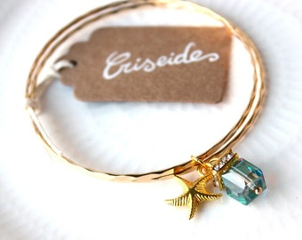 CHRYSES-faceted blue Starfish charm Cuff Bracelet