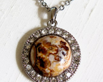 Picture Jasper Round Pendant Necklace ~ Halo Pendant Necklace ~ Round Picture Jasper Cabochon ~ Adjustable 18 - 22 inches