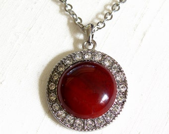 Red Jasper Round Pendant Necklace ~ Halo Pendant Necklace ~ Round Red Jasper Cabochon ~ Adjustable 18 - 22 inches