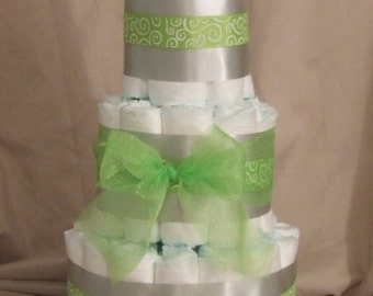 Diaper Cake for a Baby Shower Centerpiece or a New Baby Gift