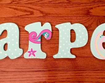 Painted Wooden Letters - Paisley Design