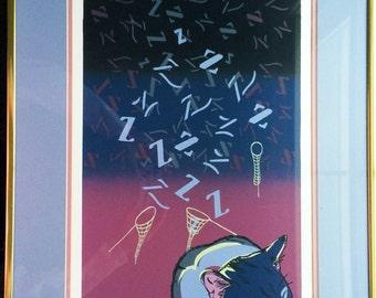 """Framed & Matted Original Silkscreen """"Just catching some z's"""" by Rojas circa 1992"""