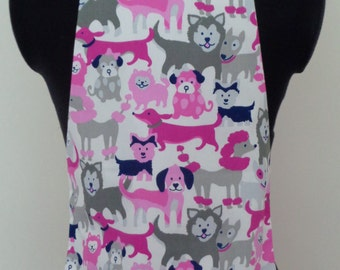 Girls Pink Dog Apron | Toddlers Pink Fabric Apron | Grey Puppies | Kids Fabric Apron