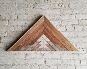 "Reclaimed Wood Wall Art, Decor, Lath, Pattern, Triangle, Mountain, Gradient, Landscape, 33"" x 17"""