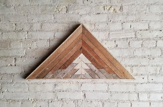 "Reclaimed Wood Wall Art, Decor, Lath, Pattern, Triangle, Mountain, Gradient, Landscape, 33"" x 17"""