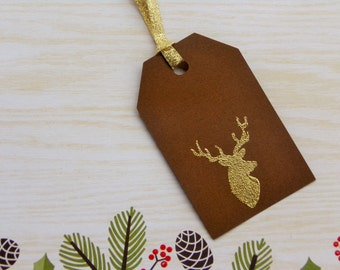 Gift Tags - Christmas Gift Tags - deer gift tags - buck tag - Christmas tags - Chistmas favor tags- set of 8 - rustic christmas