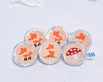 Fox First Birthday Party Favors, Fox Party Supplies, Fox Birthday, Fox Round Candy Label