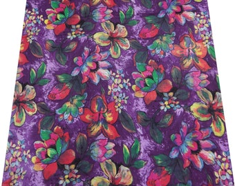 "Indian Pure Cotton Purple Floral Printed Fabric 42"" Wide Sewing Kurti Crafting Material For Dress Making Fabric By 1 Yard ZBC4277"
