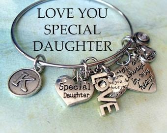 Special Daughter Bangle, LOVE YOU, Always In My Heart, Swarovski Birthstone Crystal, Custom Monogram Letter