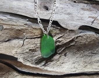 Dark Green Beach Glass Necklace