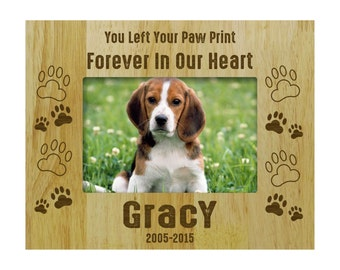 Wood Engraved Picture Frame, Rustic Frames, Pet Memorial Gift, Personalized Dog Frames, Wooden Custom Frames 4x6  / 5x7 Picture Frame PWF40
