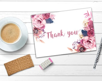 Boho thank you card Pink thank you card Printable thank you card Floral thank you card Bohemian thank you card Roses thank you card Boho