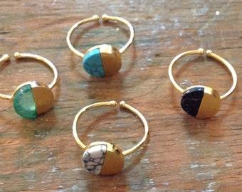 Half stone adjusted rings
