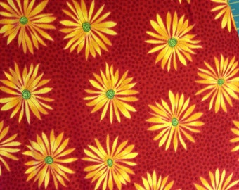 Bright Yellow Daisies on Red Background, One for You, One for Me Prints by Pat Sloan for Moda Fabrics, 100% Cotton