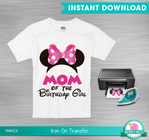 Instant download minnie mouse iron on transfer mom of the for Instant t shirt printing