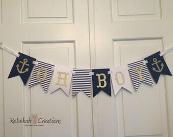 Oh Boy Nautical Banner, Nautical Baby Shower Banner, Nautical Oh Boy Banner, Beach Baby Shower, Nautical Shower Decor, Oh Boy Banner