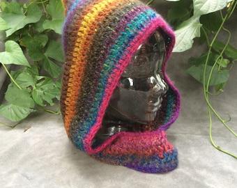 Rainbow Pixie Hood with Cowl