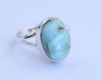 Larimar Ring. Larimar And Sterling Silver Ring. Natural Mineral. Handmade Larimar Ring. Gemstone Ring, Mineral Ring.