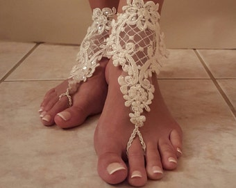 Barefoot Wedding Sandals,Barefoot Sandals,Lace Barefoot Sandals,Poolside Sandals,Wedding night Sandals,Bridesmaid's gift,Lace Wedding shoes
