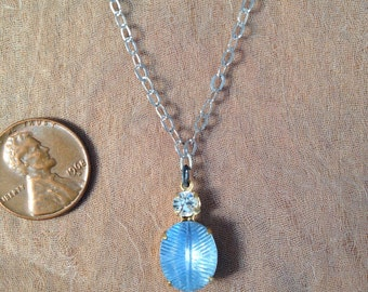 Vintage Feathered Pale Blue Glass Pendant with Diamond Rhinestone on a Sterling Silver Chain
