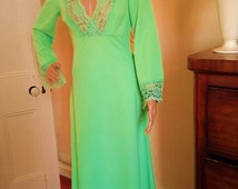 Vintage 70s Bright Green Aldens Fashion Lace Detail Dress- Summer/ Spring Evening Maxi Dress- UK Size 10/ US Size 8