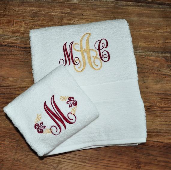 Monogrammed Towel Set Monogram Graduation Gift College Gift