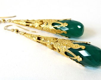 Green Onyx Dangle Earrings, Gold Filigree Drop Earrings, Handmade Jewelry with Green Onyx Stone and Gold Plated Brass, Faceted Gemstones