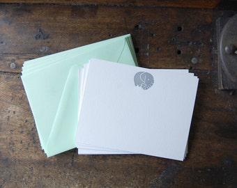 Elephant Letterpress Stationery (Set of 8)