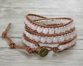 Triple wrap bracelet White jade bead bracelet Boho wrap bracelet chain bead bracelet Leather wrap bracelet braid bead bracelet SL-0333