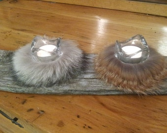 2 pack fur candle holders, fur tealight candle holders, rustic candle holders,