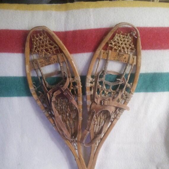 Vintage Snowshoes Rustic Decor Antique Snowshoes Wooden