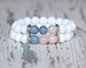 Bracelet set 2 couple bracelet double jewelry white birthday mother daughter sisters gift womens friendship bracelets lesbian couple gift