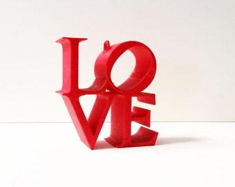 Red Glitter Love Ornament, Love Ornament, Love Statue, Philadelphia Love Icon, Love, 3D Printed Love Figurine, Glitter Figurine, Love Decor