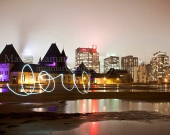 Montreal Reservoir Love City Photography, Night Photography, Montreal Photography || PHYSICAL PRINT