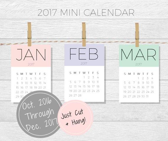 Mini Calendar 2017 Calendar Printable Desktop Calendar