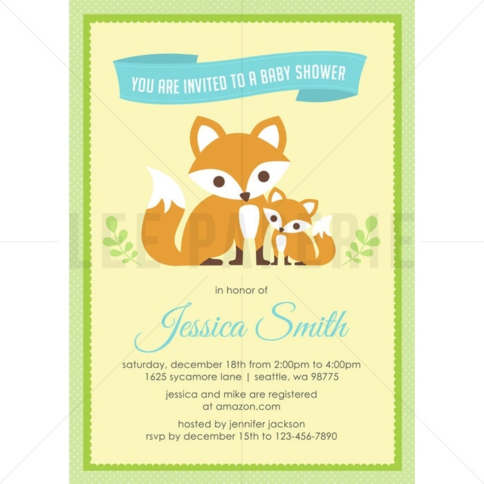 bsb006 fox baby shower invitation boy fox baby shower
