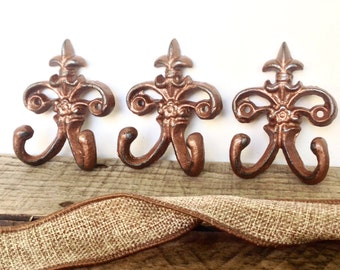 Copper Wall Hook Set - Wall Hooks - Wall Jewelry Hanger - Key Holder - Copper Home Decor - Necklace Holder - Entryway Wall Decor - Key Hook