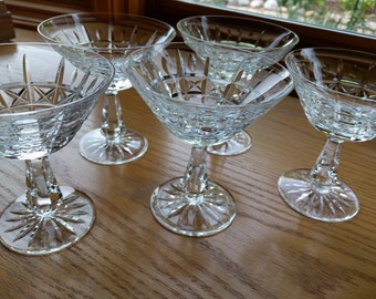 WATERFORD SHERBERT GLASSES, Dessert, Champagne, Set of 5, Vintage